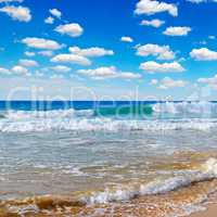 ocean, picturesque beach and blue sky