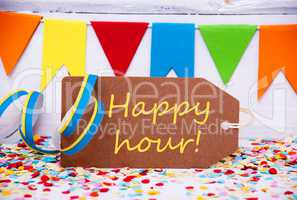 Label With Party Decoration, Text Happy Hour