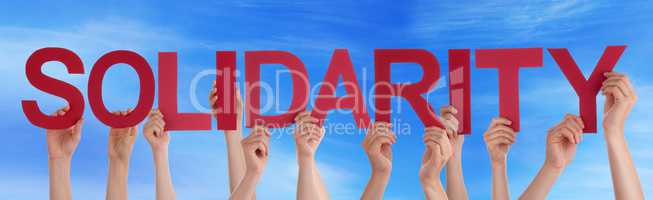 Many People Hands Holding Red Straight Word Solidarity Blue Sky