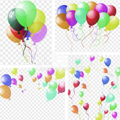 Transparent colorful balloons set