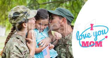 Composite image of army parents kissing daughter