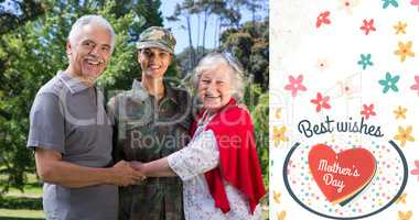 Composite image of portrait of army woman with parents