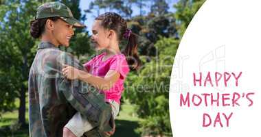 Composite image of army woman carrying daughter