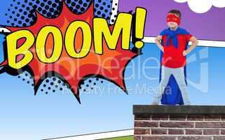 Composite image of masked boy pretending to be superhero
