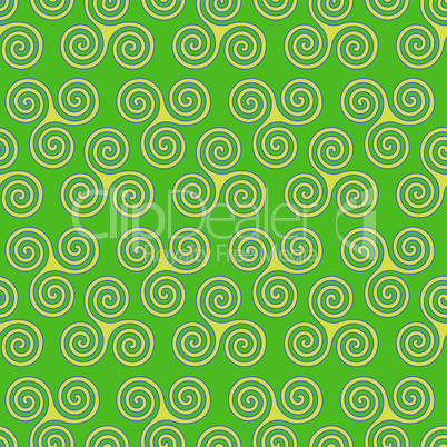 Seamless pattern with triple spiral or Triskele