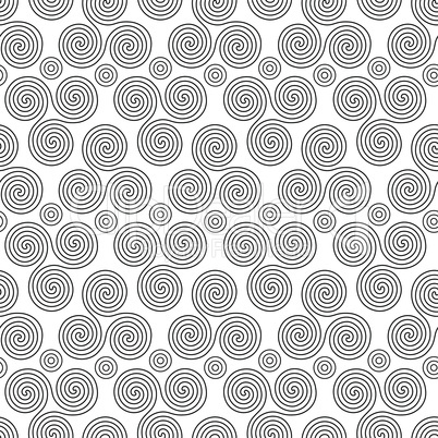 Seamless vector pattern with circles and swirling triple spiral or Triskele
