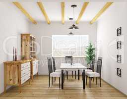 Interior of classic dining room 3d rendering