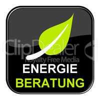 Schwarzer Button zeigt Energieberatung