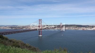 Panoramic View on the 25 de Abril Bridge in Lisbon, Portugal