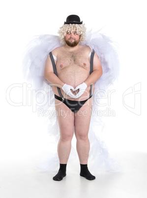 Funny Crazy Naked Fat Man in Panties with Angel Wings
