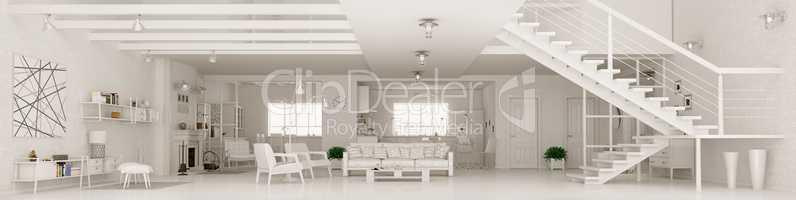White apartment interior panorama 3d rendering