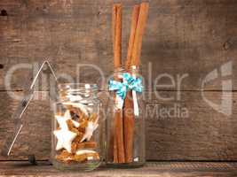 Christmas decoration with cinnamon stars in a glass