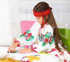 Girl in Ukrainian national cloth