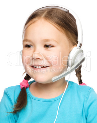 Young girl is working as an operator at helpline