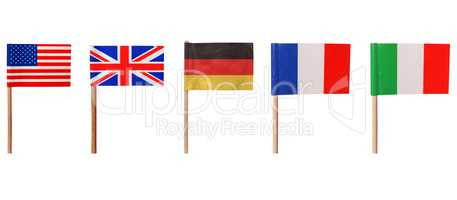 Flags of USA UK Germany France Italy
