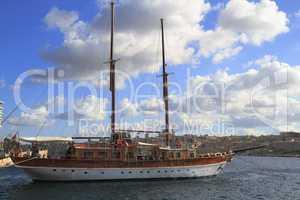 Ship in the Grand Harbour of Valletta in Malta