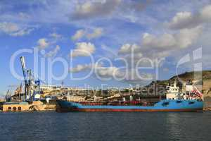 Industrial Ship in the Grand Harbour of Valletta