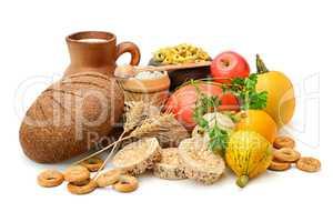 Composition of bread, milk, vegetables