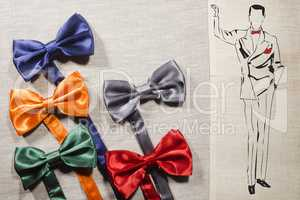 Bow ties and silhouette elegant man