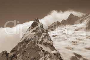 Sepia snowy mountains