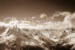 Sepia mountains at sun day