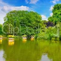 picturesque lake and pleasure boats