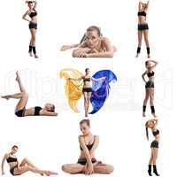 Cute fitness girl posing. Collage of many photos