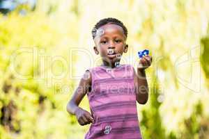 Boy playing with bubble