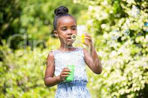 Little girl making bubble at park