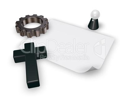christian cross and gear wheel - 3d rendering