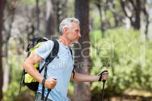 Profile view of a man hiking