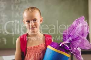 Schoolchild having her first day