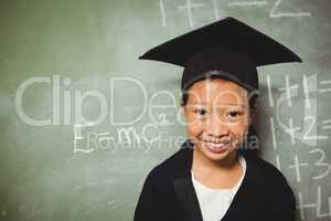 Schoolchild wearing a graduation outfit