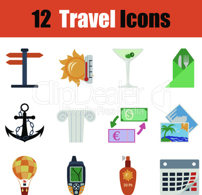 Flat design travel icon set