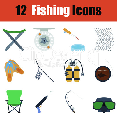 Flat design fishing icon set
