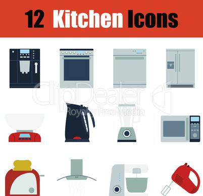 Flat design kitchen icon set