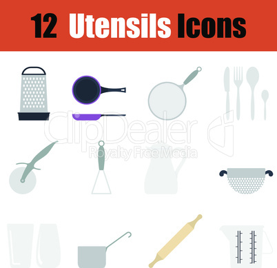 Flat design utensils icon set