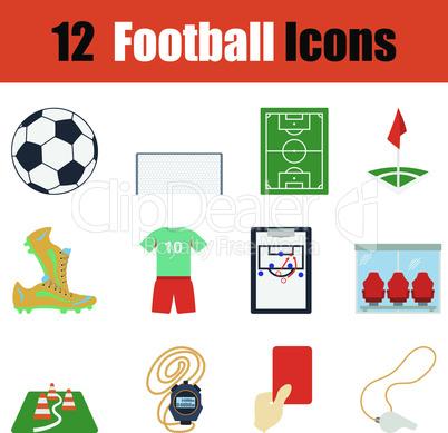 Flat design football icon set