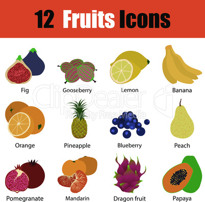 Flat design fruit icon set