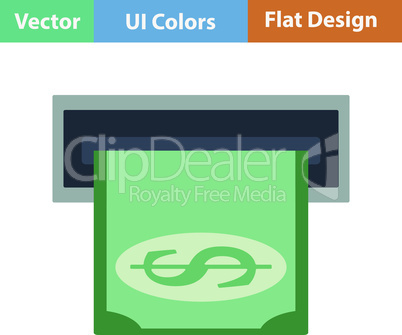Flat design icon of dollar banknote sliding from atm slot
