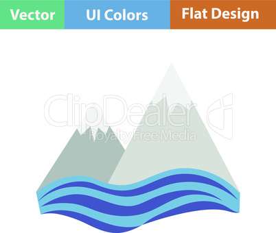 Flat design icon of snow peaks cliff