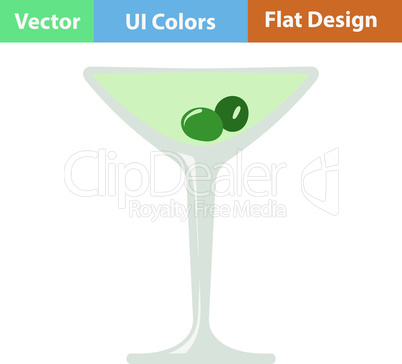 Icon of cocktail glass with olives