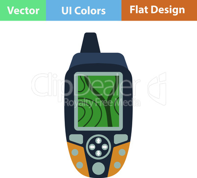Flat design icon of portable GPS device