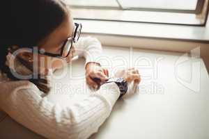 Schoolchild wearing a smart watch