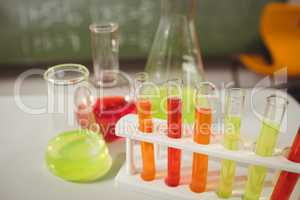 Test tube and beaker on desk