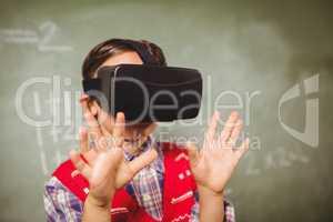 Boy using a virtual reality device
