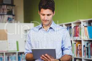 Men using a digital tablet
