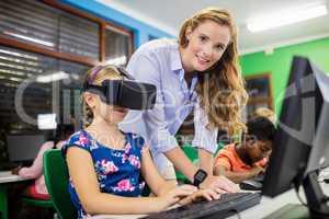 Child using 3D glasses