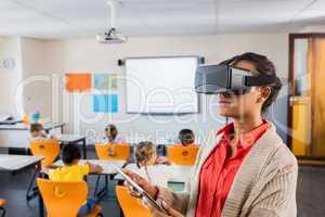 Teacher using 3D glasses