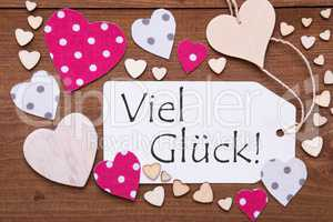 Label With Pink Heart, Viel Glueck Means Good Luck